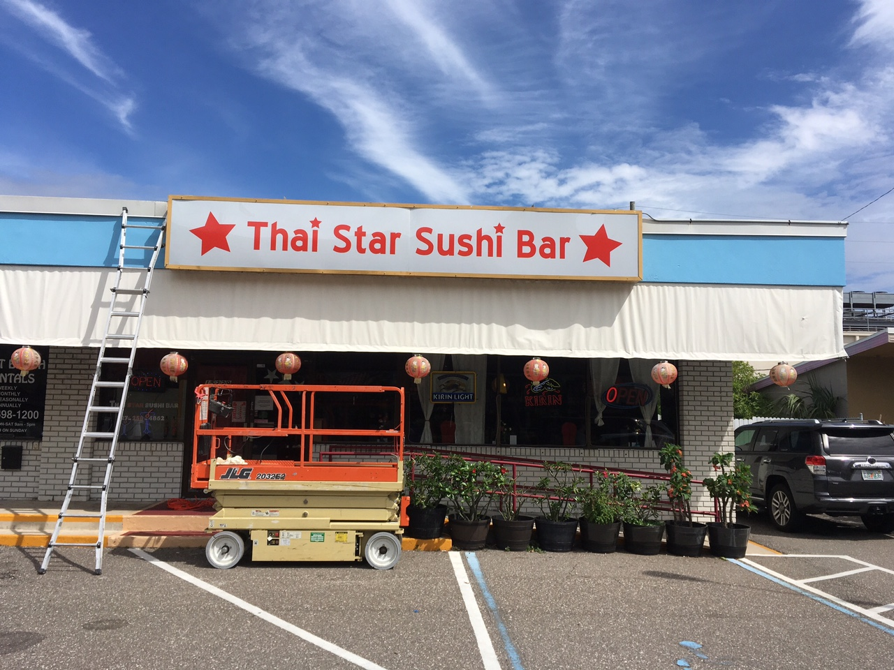 Thai Star Sushi Bar Commercial Storefront Sign Installation